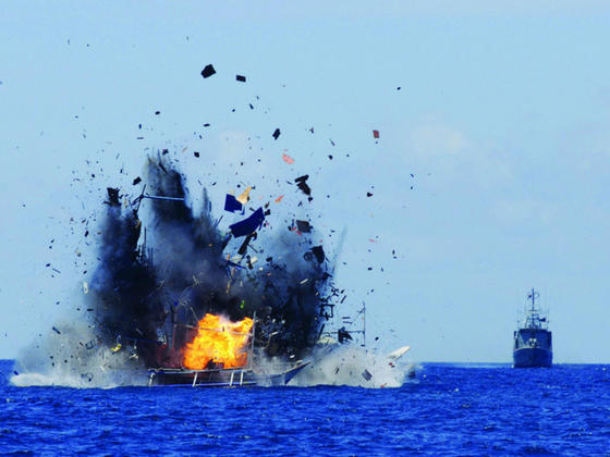 Indonesia sinks 41 illegal fishing boats, including one from China