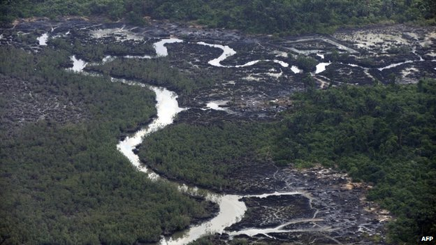 Creeks devastated as a result of spills from oil thieves at Nembe Creek in Niger Delta on 22 March 2013.