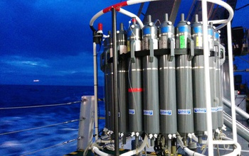 An instrument system used to collect samples from different water depths in the ocean.
