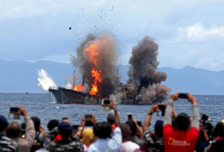 Indonesia blows up illegal foreign fishing vessels