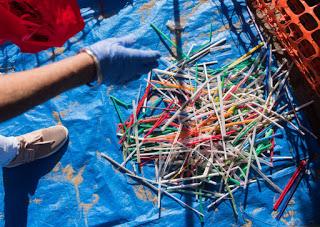 plastic straws, beach clean-up, Huntington Beach
